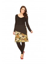Nadia  A line Cotton Skirt - Plain Black and Klimt Print